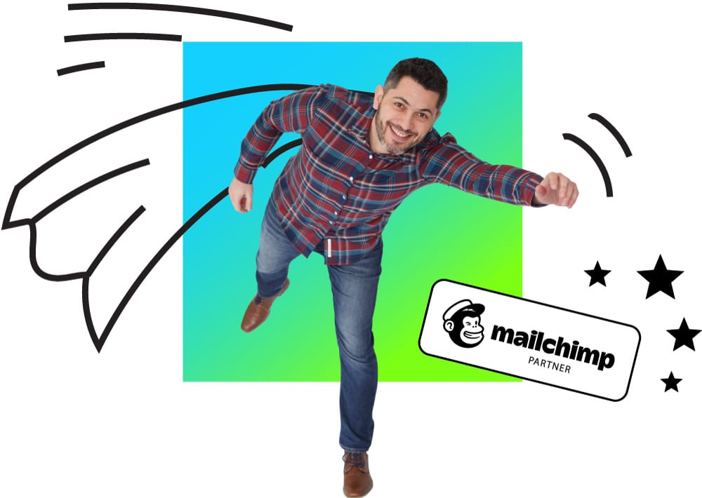 Marcelo from MailNinja - our resident superhero - flying with a drawn-on cape