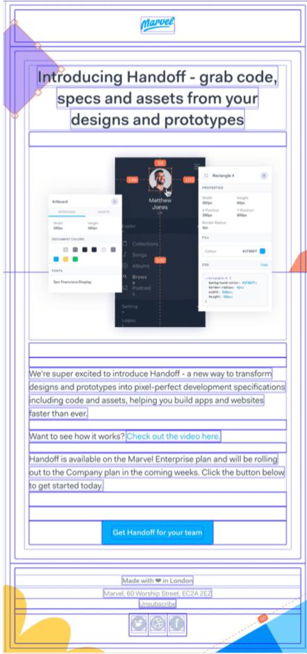 Email design review: marvel app