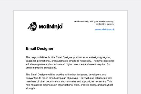 Email marketing job descriptions