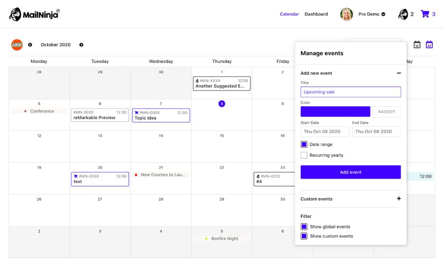 Email marketing content calendar | email planning tool