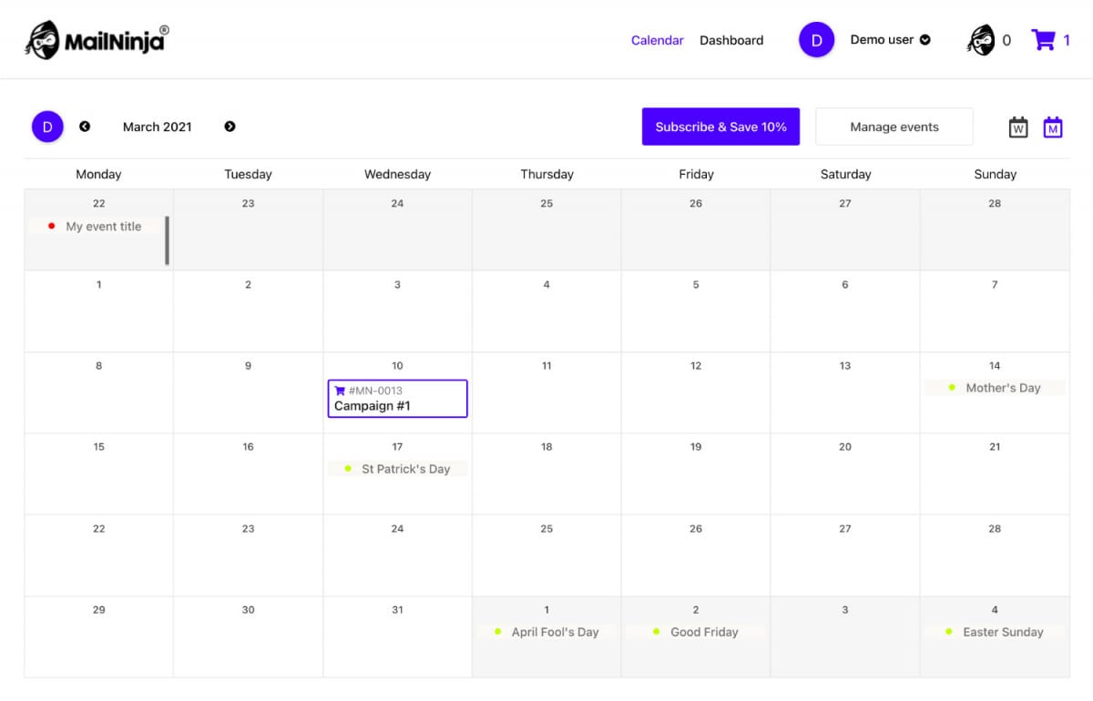 How do i plan upcoming promotional events in the mailninja app?