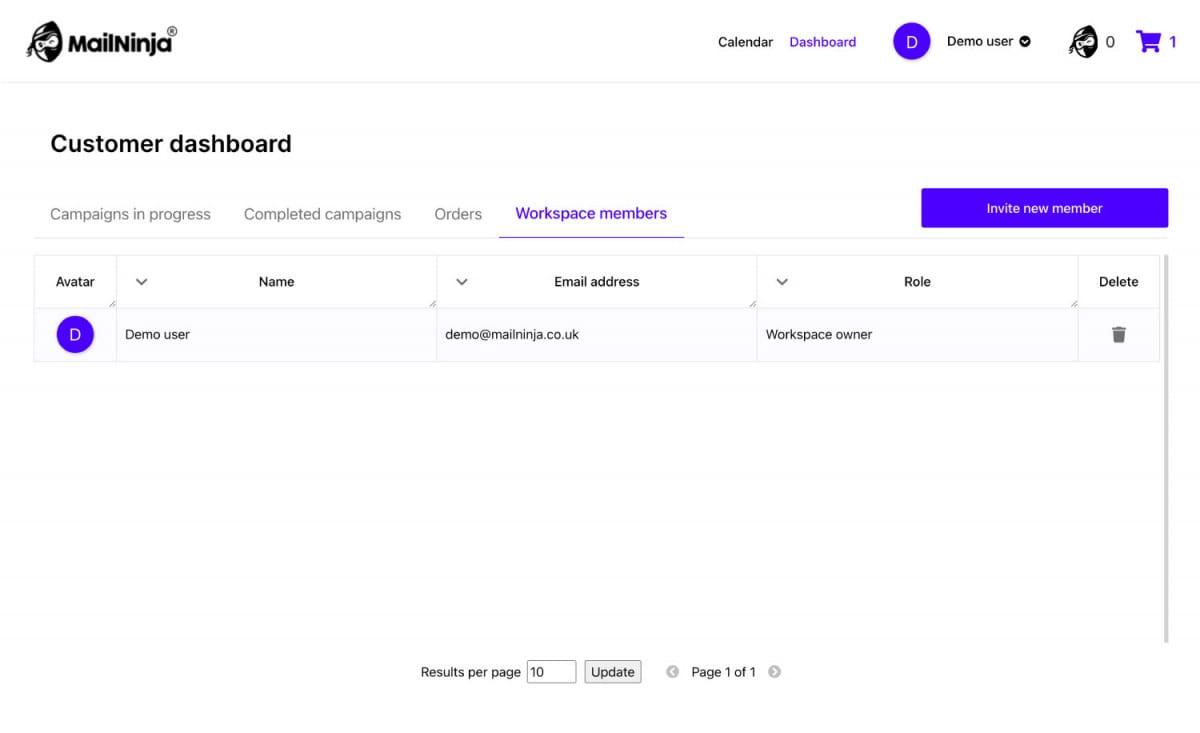 How do i invite my team members to the mailninja app